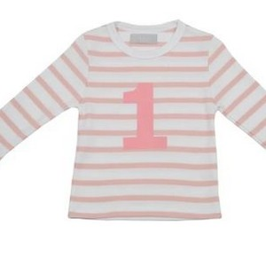 Bob & Blossom - Dusty Pink & White Breton Striped Number 1 Tee