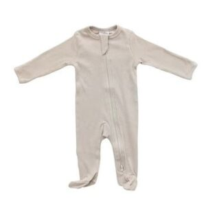 Mebie Baby - Organic Cotton Ribbed Footed Zipper One-Piece
