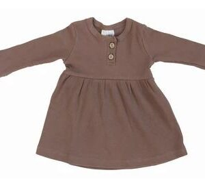 Mebie Baby - Long Sleeve Button Ribbed Organic Cotton Dress