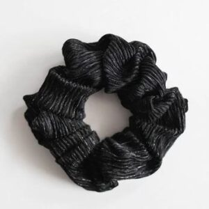 Loose Threads - Black and Silver Crinkle Scrunchie