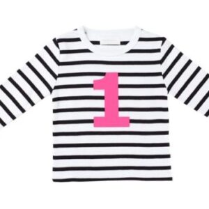 Bob & Blossom – Black & White Striped Number 1 Tee