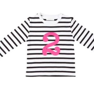 Bob & Blossom – Black & White Striped Number 2 Tee