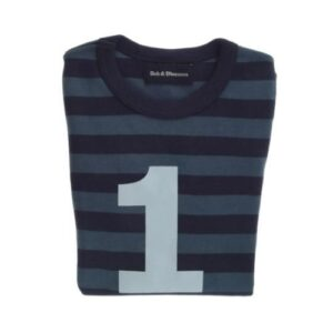 Bob & Blossom - Vintage Blue & Navy Striped Number 1 Tee
