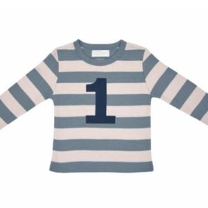 Bob & Blossom – Slate & Stone Striped Number 1 Tee