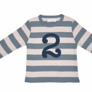 Bob & Blossom – Slate & Stone Striped Number 2 Tee