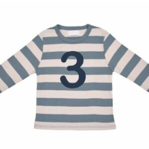 Bob & Blossom – Slate & Stone Striped Number 3 Tee