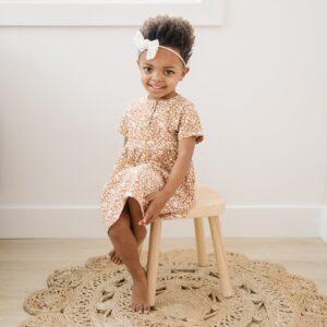 Mebie Baby - Mustard Floral Cotton Dress
