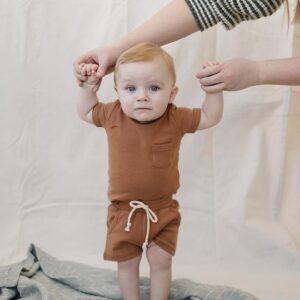 Mebie Baby - Cotton Pocket Shorts in Honey