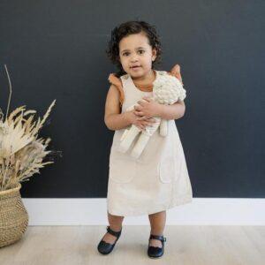 Mebie Baby - Pocket Linen Sleeveless Dress in Oatmeal